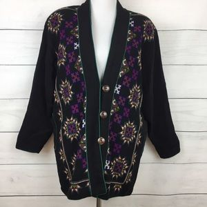 Vintage Embroidered Black 80's Jacket